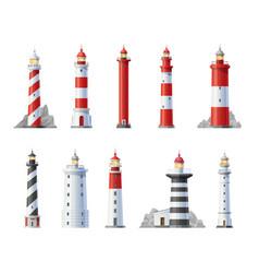 Lighthouse icons nautical beacon buildings vector