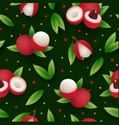 Lychee fruit tropical seamless pattern vector