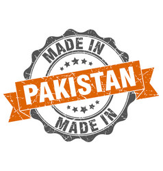 Made in pakistan round seal vector