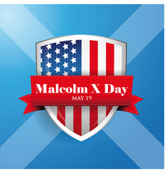 malcolm x day badge with ribbon vector image