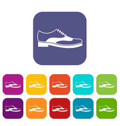 men shoe with lace icons set vector image