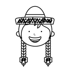 Mexican little girl character vector