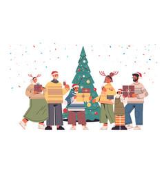 multi generation family in santa claus hats vector image