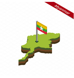 Myanmar isometric map and flag vector