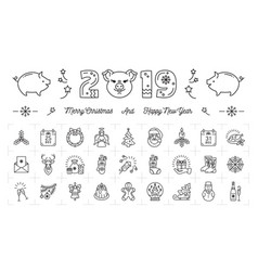 New year icons pig icons and 2019 year number vector