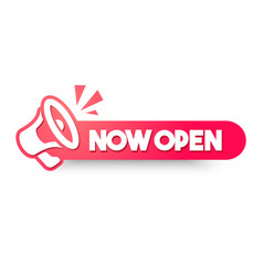 now open sign with megaphone vector image