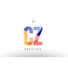 Orange blue alphabet letter cz c z logo icon vector