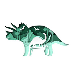 Paper cut dino silhouettes and nature landscape vector