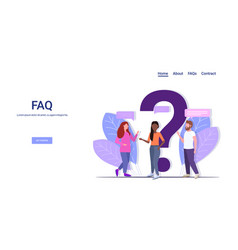 People group standing near question mark mix race vector
