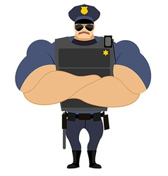 Police in flak vest Powerful policeman in police vector image