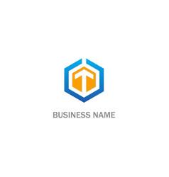 polygon arrow up business company logo vector image