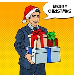 Pop Art Man in Santa Hat with Christmas Gifts vector