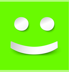 positive smile in paper style on green background vector image