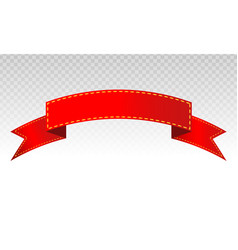 Red ribbon banner flat design on a transparent vector