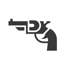 revolver handgun police related solid icon vector image