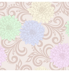 Seamless pattern with dahlia flowers and swirls vector