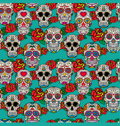 Seamless pattern with sugar skulls and roses dia vector