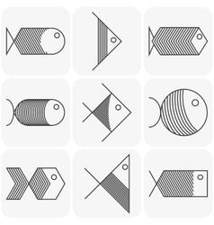 set black fish icons on white background vector image