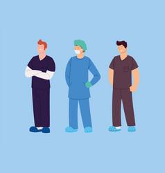 Set male health workers nurses vector