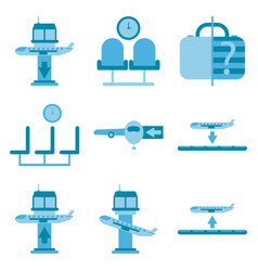 set of icons in flat design for airport vector image