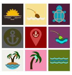 Set of sea simple icons vector