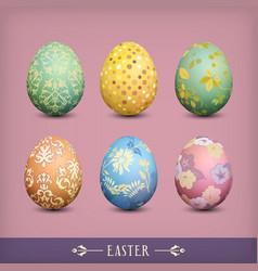 Set of vintage easter eggs vector