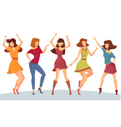 Set of woman or girl dancing at party or disco vector