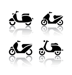set transport icons - scooter and moped vector image