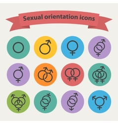 sexual orientation black web icons vector image