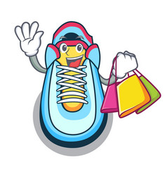 Shopping cartoon pair of casual sneakers vector