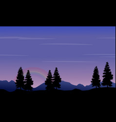 Silhouette of hill and tree at night vector