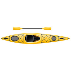 single-seater kayak with double paddle - canoe vector image