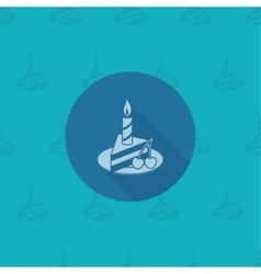 Slice of Cake with Candle vector