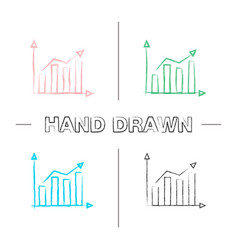 statistics hand drawn icons set vector image