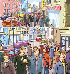 Street Crowd vector image