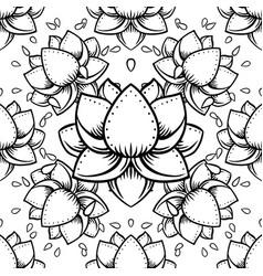 Stylish lotus flowers seamless pattern ayurveda vector