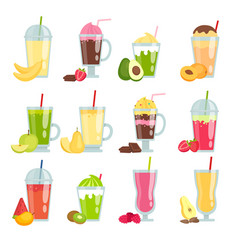 summer drinks smoothie various pictures of fruit vector image