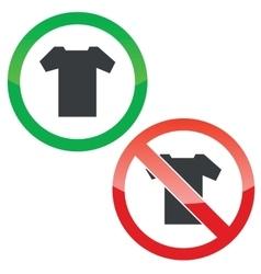 T-shirt permission signs set vector