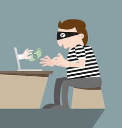 Thief stealing money by computer online vector image
