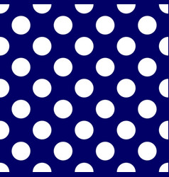Tile pattern with white polka dots on dark blue vector