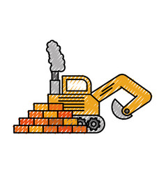 truck bulldozer machinery equipment construction vector image