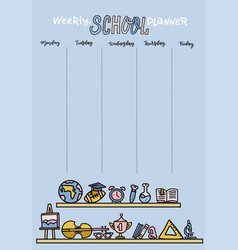 vertical timetable for elementary school weekly vector image