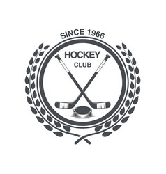 Vintage hockey icon in the old style vector