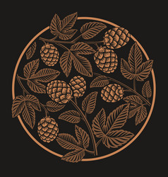 vintage round hop pattern design for beer theme vector image