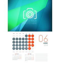 Wall calendar template for june 2018 design print vector