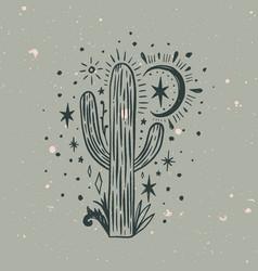 wild cactus desert arizona moonchild vintage vector image