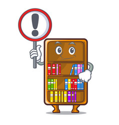 With sign mascot bookcase beside the study desk vector