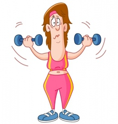 Woman lifting dumbbells vector
