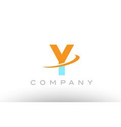 Y orange blue logo icon alphabet design vector