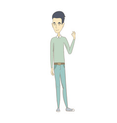 young asian man showing ok sign vector image vector image
